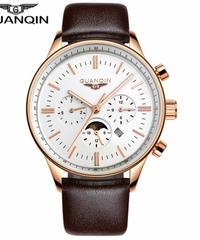 レロジオmasculino GUANQINメンズ腕時計トップブランドの高級軍事スポーツクォーツ時計男性革ストラップ腕時計男性時計 Brown gold white B