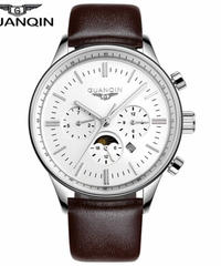 レロジオmasculino GUANQINメンズ腕時計トップブランドの高級軍事スポーツクォーツ時計男性革ストラップ腕時計男性時計 Brown silver white B