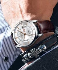 ONTHEEDGE ビジネス腕時計 メンズ 金針 クォーツ式