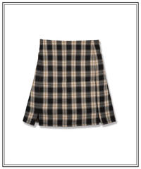 short slit check skirt