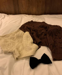 aran pattern knit short-pants