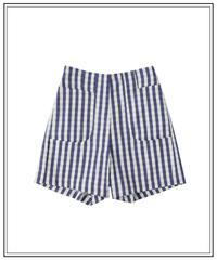 navy gingham check short pants