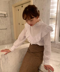 lace front frill blouse〈M01-B032〉