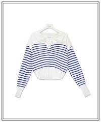border knit polo long T-shirt