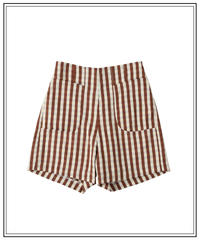 brown gingham check short pants