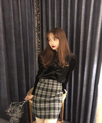tartan-check mini skirt