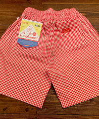 """COOK MAN"" Chef Shorts[Gingham.Red]"