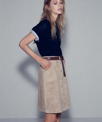 """RUMBLE RED"" Suede Button Down Skirt(Beige)"