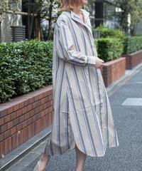 【新作】ストライプシャツロングワンピース(ベージュグリーン)