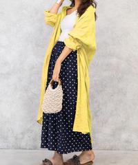 【レモンイエロー】フレンチリネン100%使用ロングシャツワンピース