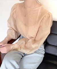 《予約販売》see through puff sleeve blouse (2color)