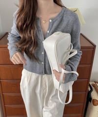《予約販売》rib wool cashmere cropped cardigan (3color)