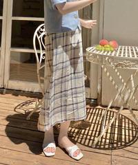 linen check long skirt