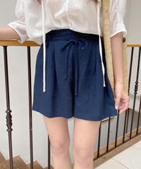 linen ribbon short pants (3color)