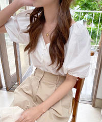 v neck puff sleeve blouse (2color)