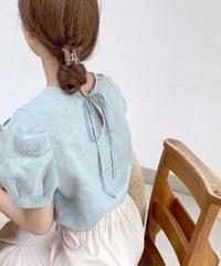 linen back ribbon  blouse ( 3color )