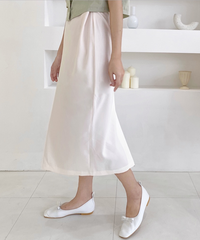 back slit tuck long skirt (2collar)
