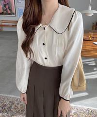 《予約販売》big collar bicolor blouse (2color)