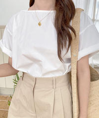 boat square neck blouse (2color)