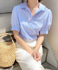 stripe frill blouse (3color)