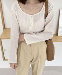 wrinkle button blouse