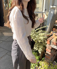 《予約販売》shirring shadow stripe blouse (2color)