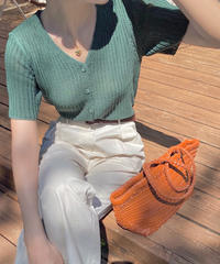 half sleeve rib knit cardigan