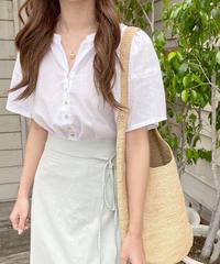 shell button linen blend blouse (3colour)