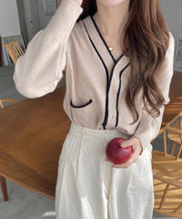 《予約販売》hidden button bicolor line cardigan (2color)