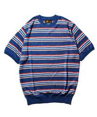 Stevenson Overall Co. / Classic Bordered Linen Knit Shirt / Blue