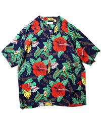 """Sun Surf / Rayon Hawaiian Shirt """"Romantic Hawaiian Nicknames"""" / Navy"""
