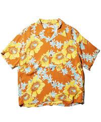"""Sun Surf / Rayon Hawaiian Shirt """"Romantic Hawaiian Nicknames"""" / Orange"""