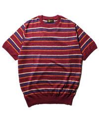Stevenson Overall Co. / Classic Bordered Linen Knit Shirt / Burgundy