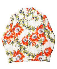 "Sun Surf / L/S Rayon Hawaiian Shirt ""Night Blooming Cereus"" / White"