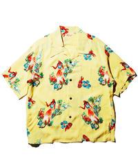 "Sun Surf / Rayon Hawaiian Shirt ""Being to Dance Hula"" / Yellow"