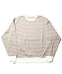 H-UNIT®︎ / Border jersey stitch wide long sleeves T shirt / Beige