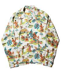 """Sun Surf / L/S Rayon Hawaiian Shirt """" LUAU"""" / White"""