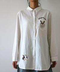 贅沢刺繍入り  コットンシャツ