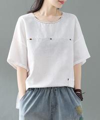 綿麻  半袖  Tシャツ