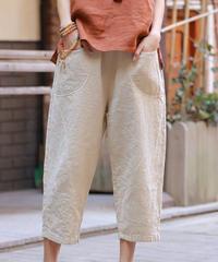 七分丈パンツ(木綿 からし)