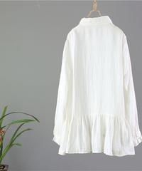 刺繍   長袖シャツ  タックブラウス