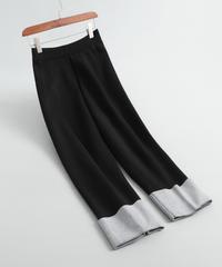 ウール     切り替え布     大人かわいい     パンツ
