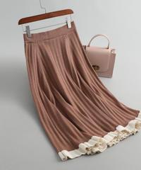 秋と冬   ウール     ストライプ      フリルギャザー     スカート