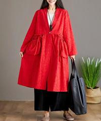 綿麻      刺しゅう      ゆったり    コート