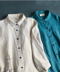 リネン100%  長袖シャツ