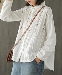 刺繍 *襟フリル白ブラウス