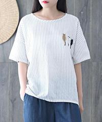 綿麻  刺しゅう  Tシャツ