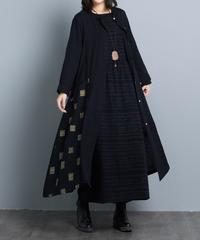 綿麻    大人かわいい      ブラック     コート