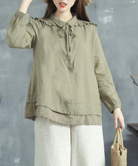 綿麻||長袖シャツ