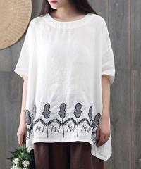 贅沢刺繍入り||5分袖||Tシャツ